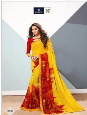 yellow chiffon fabric printed work casual