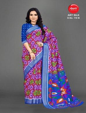 blue art silk fabric silk work casual