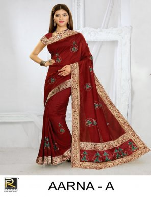 black art silk fabric silk saree work party