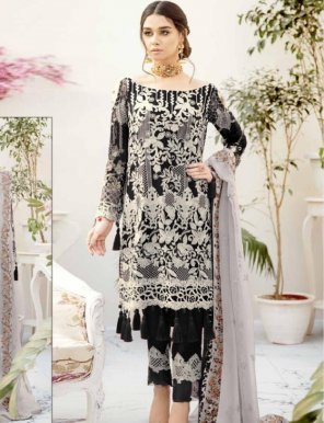 black georgette fabric embroidery work wedding