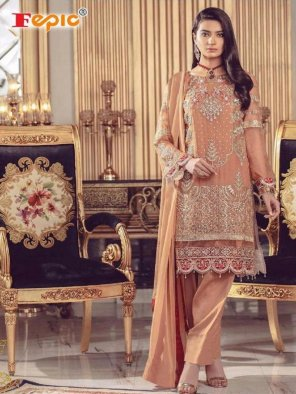 salmon pink georgette fabric embroidery work