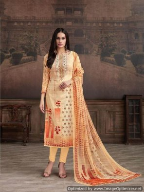 papaya whip orange jam cotton fabric handwork work casual