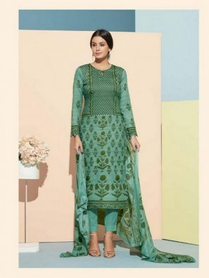 pine green cotton fabric printed work reguler