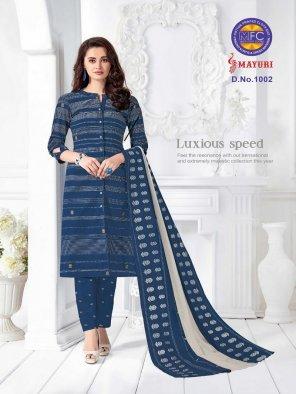 indigo blue cotton fabric printed work casual