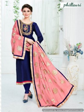 navy blue upada silk fabric embroidery work casual