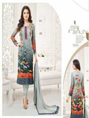 multi georgette fabric embroidery handwork work casual