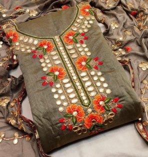 sage green chanderi fabric gota work work fastive