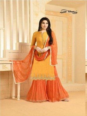 mango orange chinon fabric embroidery work fastive
