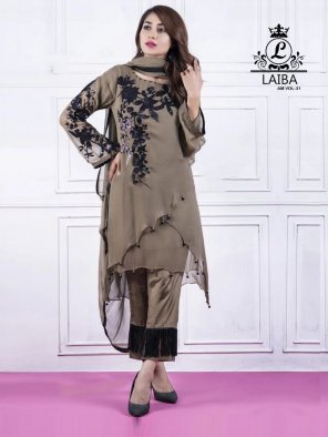 grey georgette fabric embroidery work party wear