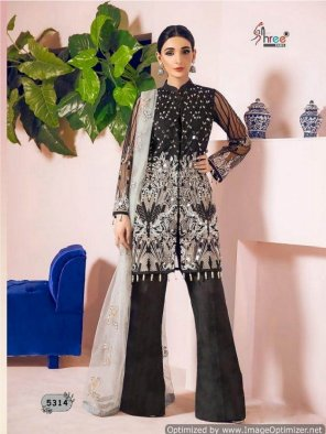 black net/faux georgette fabric embroidery work wedding