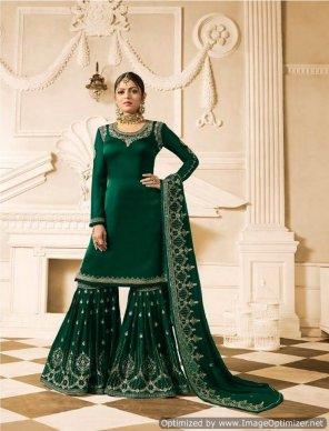 batli green georgette fabric embroidery work wedding