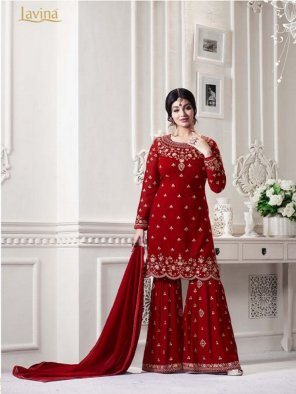 charry red georgette fabric embroidery work wedding