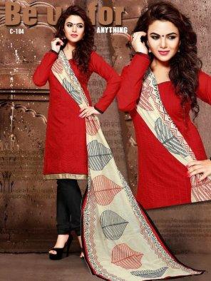 red chanderi silk fabric printed work casual
