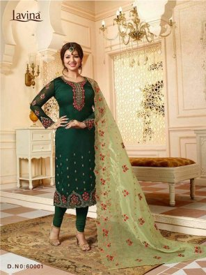 dark green satin georgette fabric embroidery work fastive