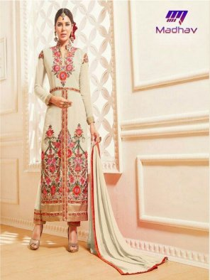 cream faux georgette fabric embroidery work fastive