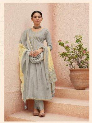 stone grey cotton jamsilk fabric digital printed work festive