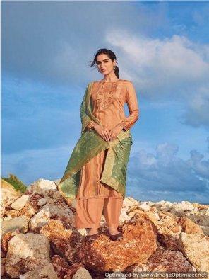 sandey brown cotton fabric digital printed work casual