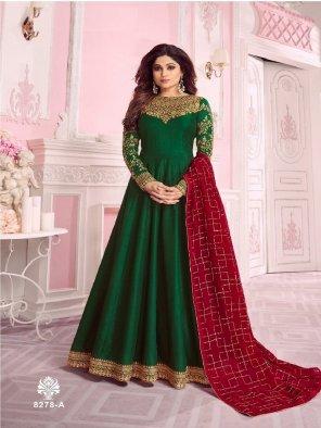 pine green dhola silk fabric embroidery work wedding