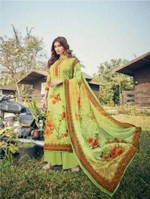 parrot green georgette fabric digital printed work festive