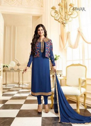 blue georgette fabric embroidery work festive