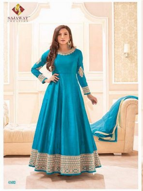 sky blue cotton silk fabric embroidery work party wear