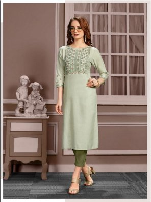 olive  cotton fabric embroidery work casual