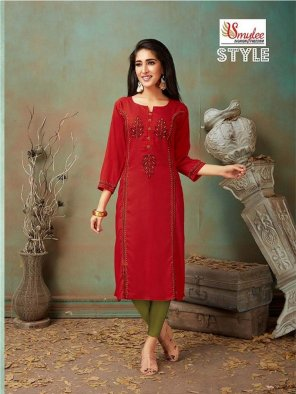 red  rayon fabric embroidery work casual