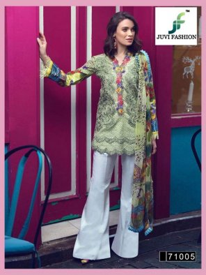 multi cotton fabric embroidery work casual