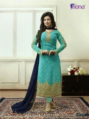 mint green georgette fabric embroidery work casual