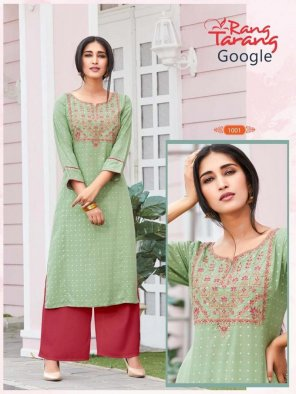olive reyon fabric embroidery work casual