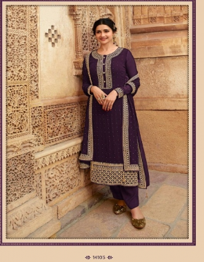 purple top - georgette | bottom + inner - santoon | dupatta - georgette  fabric embroidery + swarosaski work wedding