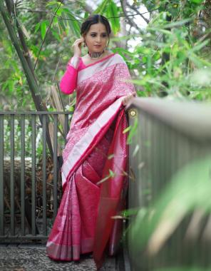 pink soft lichi silk fabric weaving work ethnic