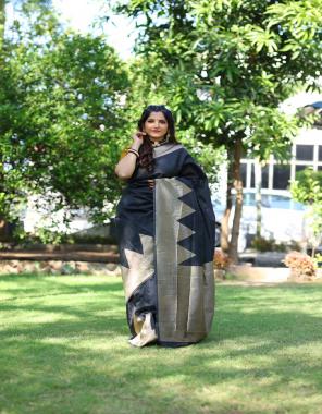 black soft lichi silk fabric jacquard work ethnic