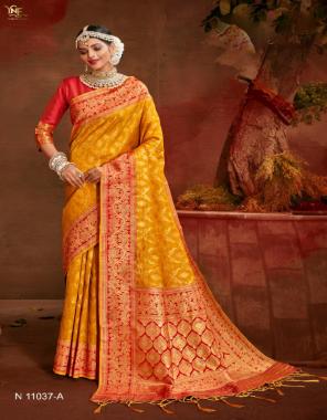 yellow  soft silk fabric jacquard weaving work ethnic
