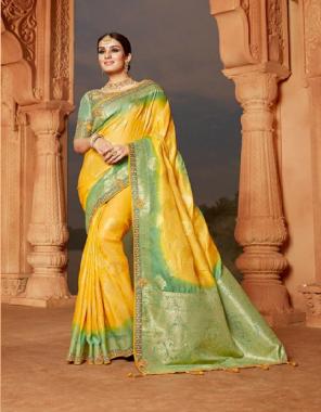 yellow  soft silk fabric embroidery + jacquard work ethnic