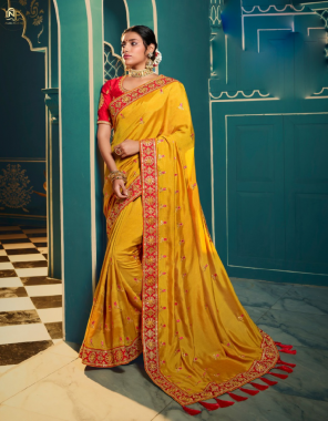 yellow  chinon georgette  fabric embroidery work wedding