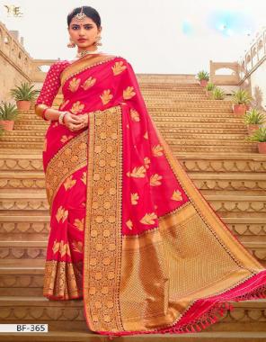 pink banarasi silk fabric jacquard work festive