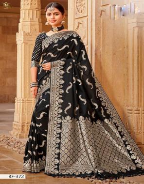 black banarasi silk fabric jacquard work festive