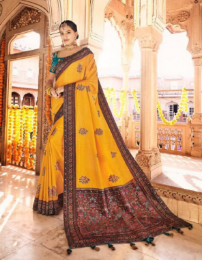 yellow  dola silk fabric jacquard work wedding