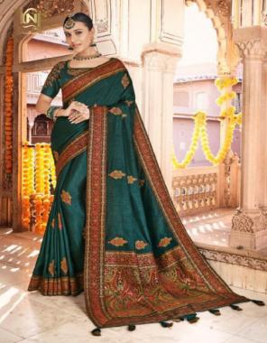 green dola silk fabric jacquard work ethnic