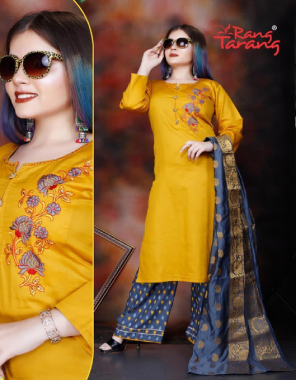 yellow top - jam satin | bottom - rayon | dupatta - banarasi fabric embroidery work party wear