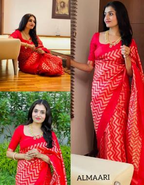 red saree - soft lichi silk 5.5m | blouse - running 0.8m fabric jacqaurd  work festiva