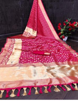 dark pink heavy banarasi silk fabric jacqaurd  work wedding