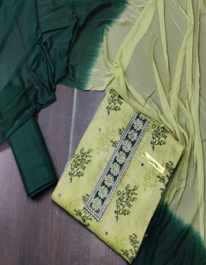 light  peorrot  top - cotton | bottom - cotton | dupatta - nazmin fabric embroidery + printed work running