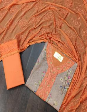 orange  top - cotton | bottom 2.25 m - cotton | dupatta - nazmin fabric embroidery + printed work wedding