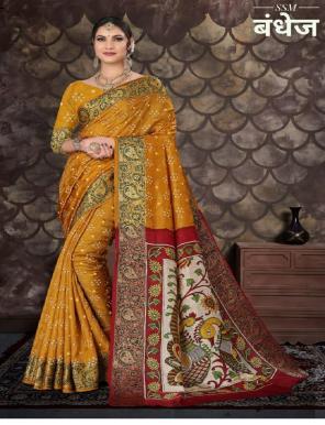 yellow  top - art silk bandhej print fabric bandhej work wedding