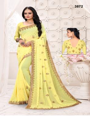 yellow  saree - chiffon | blouse -running fabric embroidery + stone work wedding