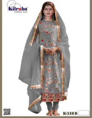 grey top - georgette with heavy resham embroidery with mirror work | bottom+inner - santoon | dupatta - chiffon | type - semi stitch | size - fits up to 58 | length -51 fabric embroidery + fancy work ethnic