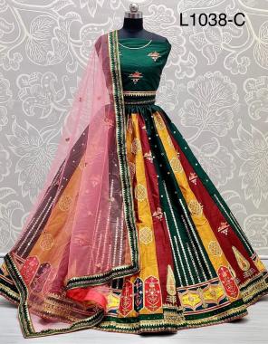 green lehenga - slub silk flair 3m stitching standard size cancan attached | blouse - silk 1m unstitch | dupatta - soft net 2.25m fabric thread embroidery sequence work ethnic