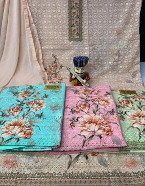 cream top - digital  print chikan work   bottom - cotton   dupatta - nazmin fabric digital print + chikan  work ethnic